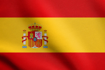 Flag of Spain waving with fabric texture