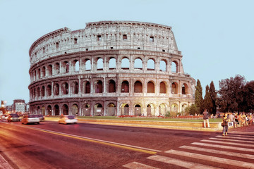 Colosseum in city center of Rome Italy in evening