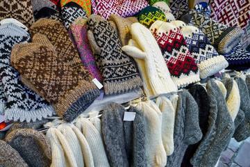 Stall with warm mittens and socks at Riga Christmas Market