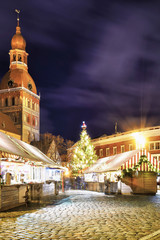 Street of Christmas market near the Riga Cathedral