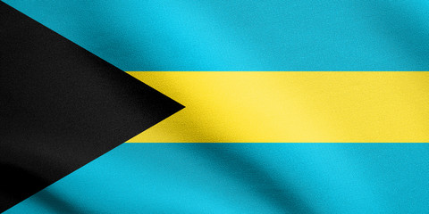 Flag of Bahamas waving with fabric texture