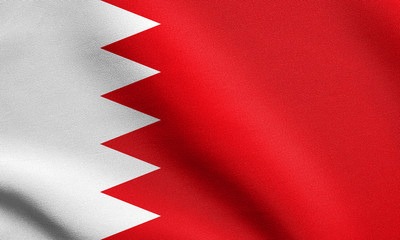 Flag of Bahrain waving with fabric texture