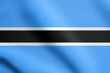 Flag of Botswana waving with fabric texture