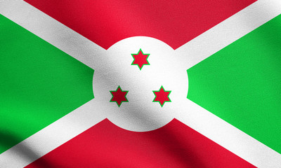 Flag of Burundi waving with fabric texture