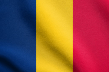 Flag of Chad waving with fabric texture