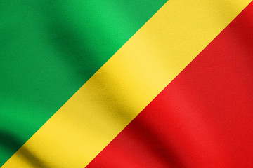 Flag of the Congo Republic waving, fabric texture