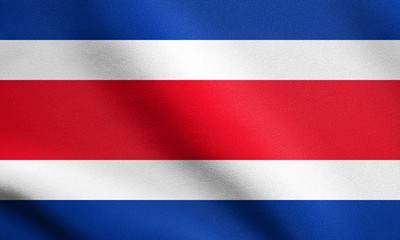 Flag of Costa Rica waving with fabric texture