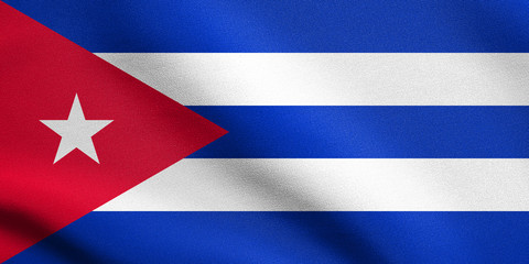 Flag of Cuba waving with fabric texture