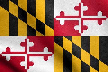 Flag of Maryland waving with fabric texture