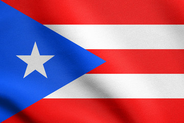 Flag of Puerto Rico waving with fabric texture