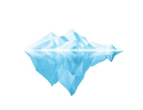 beautiful polygonal iceberg on white background