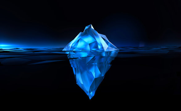 beautiful polygonal iceberg on black background