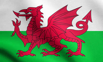 Flag of Wales waving with fabric texture