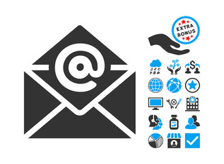 Email icon with bonus pictograph collection. Vector illustration style is flat iconic bicolor symbols, blue and gray colors, white background.