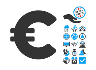 Euro icon with bonus elements. Vector illustration style is flat iconic bicolor symbols, blue and gray colors, white background.