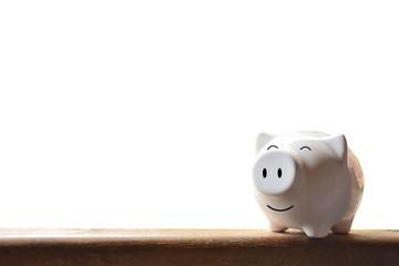Piggy bank on white background. Soft focus