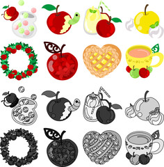 The candy and smoothie and compote and wreath and jewel and pie and tea of apple