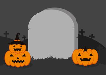 Halloween Vector Background - Blank headstone with Halloween pumpkins on graveyard night background, Halloween background with Jack o'lantern and gravestone