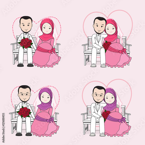 Muslim wedding couple vector cartoon, bride and groom