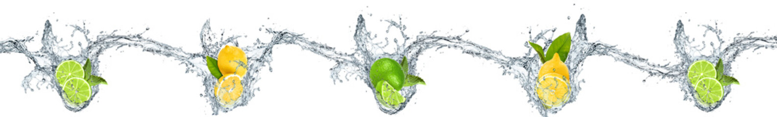 Lemons and oranges dropped into water