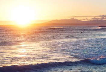 Beautiful sunset on the ocean beach. Portugal