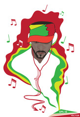 African Rhythm - Man Listening To Headphones Music