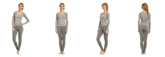 Cute woman in gray footless tights isolated on white background