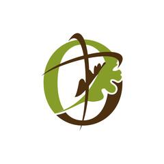 Church Oak Cross Logo Vector Image Icon