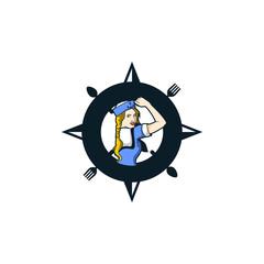 Ocean Ship Woman Ship Crew Cafe Character Illustration Logo Vector Image