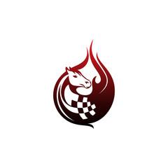 Race Horse Flame Logo Vector Image Icon