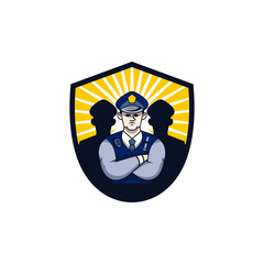 Security Police Character Illustration Emblem Logo Vector Image