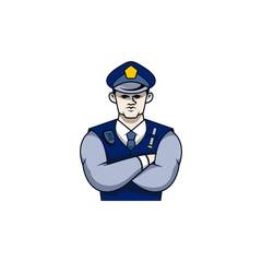 Security Police Character Illustration Logo Vector Image