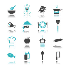 cooking icons with reflection