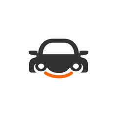 Smiling Car Logo Vector Image Icon