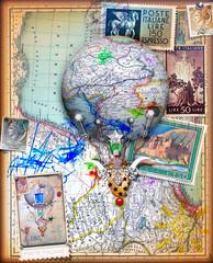 Voli e viaggi fantastici,avventure con mongolfiera,collage con vecchie mappe e francobolli vintage