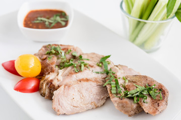 Thai Style Grilled Pork with Spicy Sauce