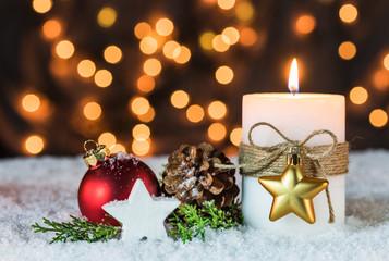Weihnachten Karte Lichter Abend Schnee