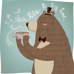 cute cartoon bear drinking tea