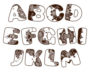 Vector cartoon alphabet