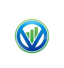 V Statistics Stockmarket Logo Vector Image Icon