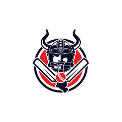 Vikings Cricket Bat Ball Illustration Logo Vector Image Icon