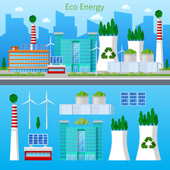 Eco Factory Green Energy Cityscape with Solar Battery. Vector illustration