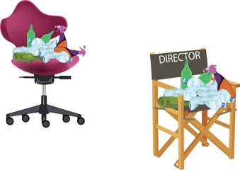 sedia direttore con immondizia