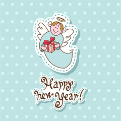Vector Christmas card with cartoon angel style with a gift with