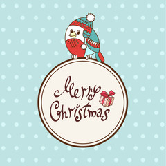 Vector Christmas card with cartoon bullfinch in cap style with a