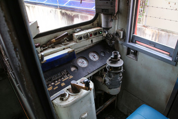 in a control room of an old train