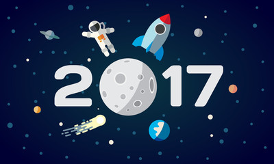 Flat space theme illustration for calendar. The astronaut and rocket on the moon background. 2017 Happy New Year cover, poster, flyer.