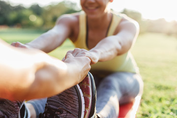 Women exercise together