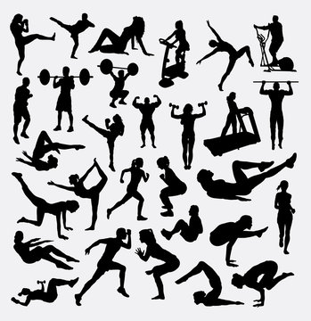 Working out sport male and female. Good use for symbol, logo, web icon, mascot, sticker, sign, or any design you want.