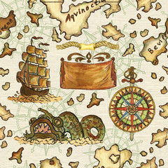 Seamless background with pirate map of treasure island